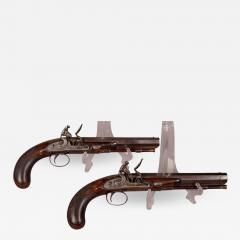 James Collins Cased Pair Flintlock Target Dueling Pistols by Collins of London - 1509729