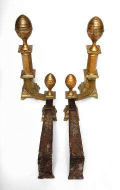 James Davis Pair of Brass Lemon Top Andirons - 1913951