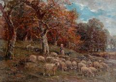 James Desvarreux Larpenteur Oil on Canvas Paturage dans Yonne by James Desvarreux Larpenteur 1847 1947  - 2139163