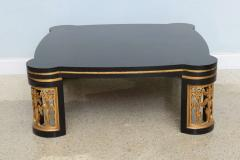 James Mont American Modern Black Lacquer and Parcel Gilt Low Table Attributed to James Mont - 45704