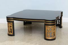 James Mont American Modern Black Lacquer and Parcel Gilt Low Table Attributed to James Mont - 45705