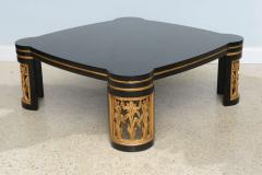 James Mont American Modern Black Lacquer and Parcel Gilt Low Table Attributed to James Mont - 45708