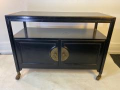 James Mont BLACK LACQUER CHINOISERIE JAMES MONT STYLE BAR CART - 1791021