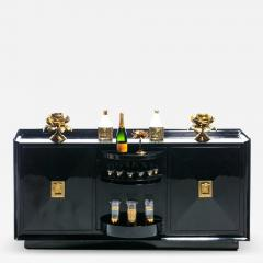 James Mont James Mont Attributed Black Lacquered Sideboard or Bar Cabinet circa 1940s - 2044167