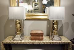 James Mont James Mont Pair of Hand Carved Table Lamps 1950s - 537598