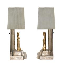 James Mont James Mont Pair of Hand Carved Table Lamps 1950s - 537600