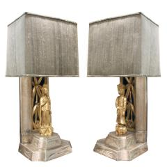 James Mont James Mont Pair of Hand Carved Table Lamps 1950s - 537601