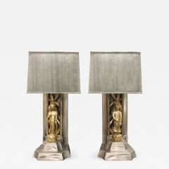 James Mont James Mont Pair of Hand Carved Table Lamps 1950s - 538465