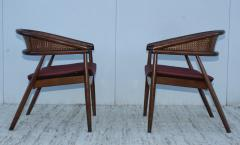 James Mont James Mont Style Bent Beech And Leather Armchairs - 1231894