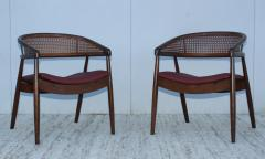 James Mont James Mont Style Bent Beech And Leather Armchairs - 1231896
