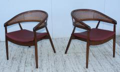 James Mont James Mont Style Bent Beech And Leather Armchairs - 1231897