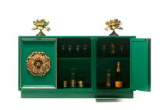 James Mont James Mont Style Hollywood Regency Green Lacquered Credenza with Gold Medallions - 2069756