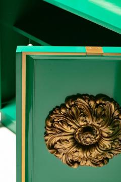 James Mont James Mont Style Hollywood Regency Green Lacquered Credenza with Gold Medallions - 2069763