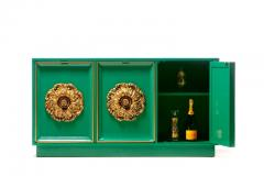 James Mont James Mont Style Hollywood Regency Green Lacquered Credenza with Gold Medallions - 2069768