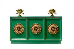 James Mont James Mont Style Hollywood Regency Green Lacquered Credenza with Gold Medallions - 2069769
