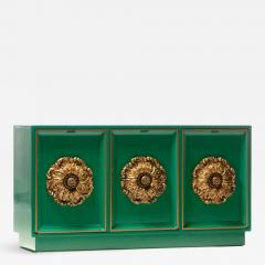 James Mont James Mont Style Hollywood Regency Green Lacquered Credenza with Gold Medallions - 2069863