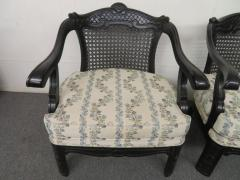 James Mont Lovely Pair of Caned Chinoiserie Asian Style Armchairs Hollywood Regency - 1684885