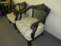 James Mont Lovely Pair of Caned Chinoiserie Asian Style Armchairs Hollywood Regency - 1684888