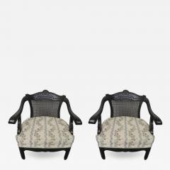 James Mont Lovely Pair of Caned Chinoiserie Asian Style Armchairs Hollywood Regency - 1686526