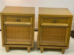 James Mont MID CENTURY WOVEN CANE ACCENT SIDE TABLES NIGHTSTANDS - 1569349
