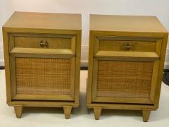 James Mont MID CENTURY WOVEN CANE ACCENT SIDE TABLES NIGHTSTANDS - 1569350