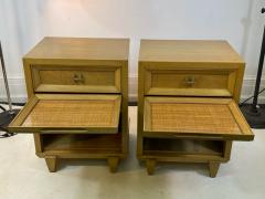 James Mont MID CENTURY WOVEN CANE ACCENT SIDE TABLES NIGHTSTANDS - 1569351