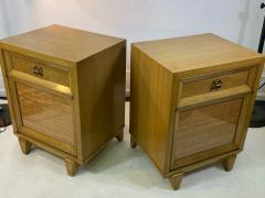 James Mont MID CENTURY WOVEN CANE ACCENT SIDE TABLES NIGHTSTANDS - 1569354