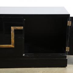 James Mont Mid Century Modern Black Lacquer Gold Leaf Sideboard Signed By James Mont - 1802292