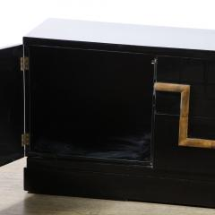 James Mont Mid Century Modern Black Lacquer Gold Leaf Sideboard Signed By James Mont - 1802293
