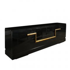 James Mont Mid Century Modern Black Lacquer Gold Leaf Sideboard Signed By James Mont - 1802294