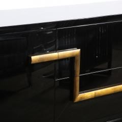 James Mont Mid Century Modern Black Lacquer Gold Leaf Sideboard Signed By James Mont - 1802295