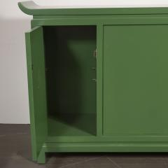 James Mont Midcentury Modern Kelly Green Dry Bar Sideboard w Gilt Pulls Signed James Mont - 1741079