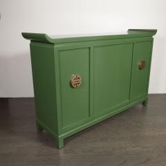 James Mont Midcentury Modern Kelly Green Dry Bar Sideboard w Gilt Pulls Signed James Mont - 1741085