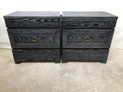 James Mont Pair of Elegant James Mont Cerused Custom Cabinet Nightstand Chests - 1781438