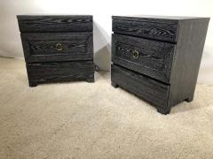 James Mont Pair of Elegant James Mont Cerused Custom Cabinet Nightstand Chests - 1781439