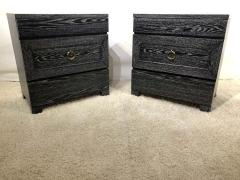 James Mont Pair of Elegant James Mont Cerused Custom Cabinet Nightstand Chests - 1781446