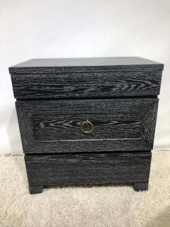 James Mont Pair of Elegant James Mont Cerused Custom Cabinet Nightstand Chests - 1781458