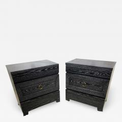James Mont Pair of Elegant James Mont Cerused Custom Cabinet Nightstand Chests - 1785180