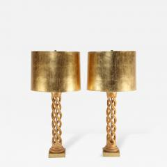 James Mont Pair of James Mont Carved Helix Table Lamps - 481333