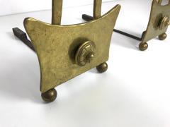 James Mont Pair of Mid Century Brass Andirons - 1138914