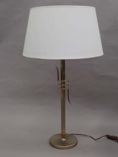 James Mont Pair of Mid Century Modern Nickeled Copper Table Lamps Attributed to James Mont - 1844375