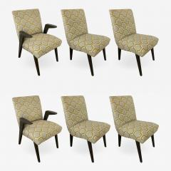 James Mont Set of 6 American Modern Gray Cerused Oak Dining Chairs James Mont - 1839687