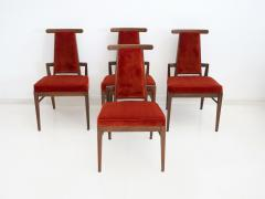 James Mont Set of Four Wood and Velvet Chairs by James Mont - 1652604