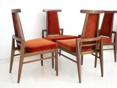 James Mont Set of Four Wood and Velvet Chairs by James Mont - 1652605