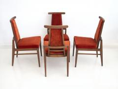 James Mont Set of Four Wood and Velvet Chairs by James Mont - 1652606