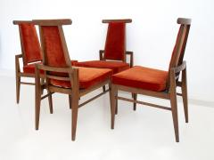 James Mont Set of Four Wood and Velvet Chairs by James Mont - 1652614