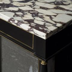 James Newton Pair of Regency Black Lacquer Marble Top Pier Cabinets - 1016997