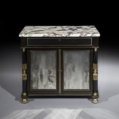 James Newton Pair of Regency Black Lacquer Marble Top Pier Cabinets - 1016998