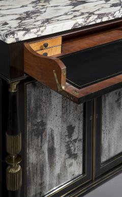 James Newton Pair of Regency Black Lacquer Marble Top Pier Cabinets - 1016999