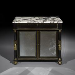 James Newton Pair of Regency Black Lacquer Marble Top Pier Cabinets - 1017001